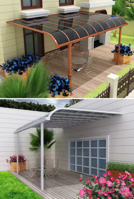 Gazebo Canopy/Patio Canopy Cover: Polycarbonate Panel     Frame: Aluminium Alloy Cover Color: Clear,brown,grey,blue	    Frame Color: White,brown,grey     Dimension: Any size can be customized Advantage: 1.Elegant appearance and concise design     2.Light weight & strong structure & easy to install     3.Automatic cleaning & anti-ultraviolet