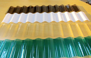 PC corrugated sheet Thickness:	0.8 mm-2.5mm Width: 840mm, 930mm, 1050mm      Length: Can produce according to customer request Color: Clear Opal Green Blue Bronze Lake blue Raw materials	Bayer, Sabic