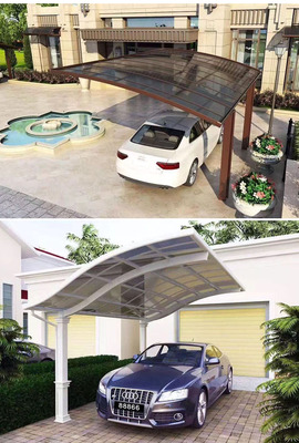 Polycarbonate Carport/Aluminium Carport Cover: Polycarbonate Panel     Frame: Aluminium Alloy Cover Color: Clear,brown,grey,blue	    Frame Color: White,brown,grey     Dimension: 3x5.5m Advantage: 1.Elegant appearance and concise design     2.Light weight & strong structure & easy to install     3.Automatic cleaning & anti-ultraviolet
